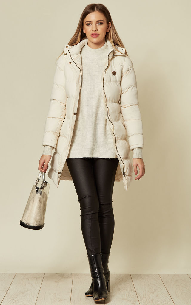 White hooded parker with faux fur by EDGE STREET