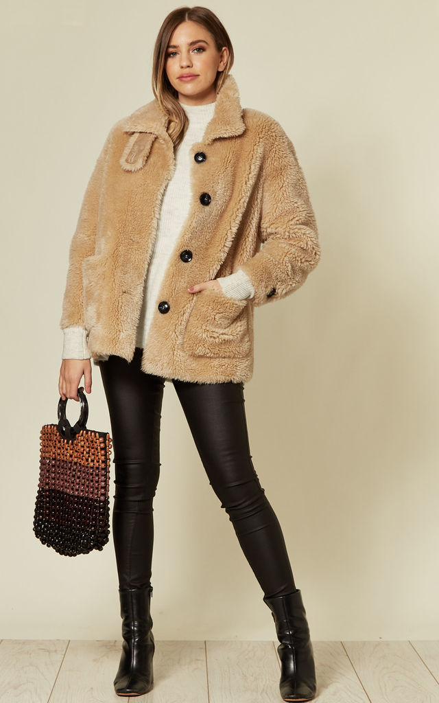 Tan Fuzzy Coat Faux Shearling Workwear Jacket by FS Collection