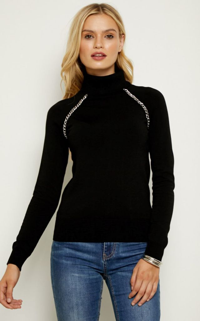 Black Silver Chain Detail Polo Neck Jumper by SOSANDAR