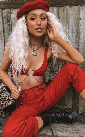 'Criminal' Bralette Crop Top In Red With Chain by Cute Mistake Product photo