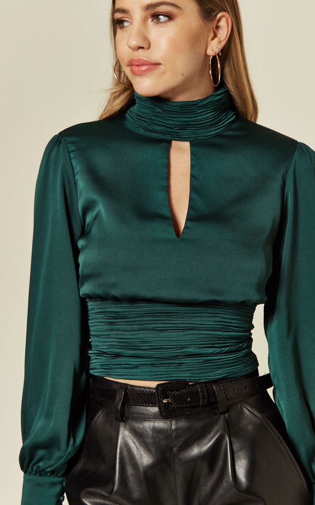 Clea Green Halter Neck Blouse with Long Sleeves by Zibi London