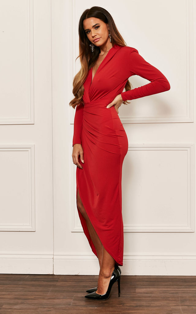 Red Deep V Wrap Over Maxi Dress by John Zack