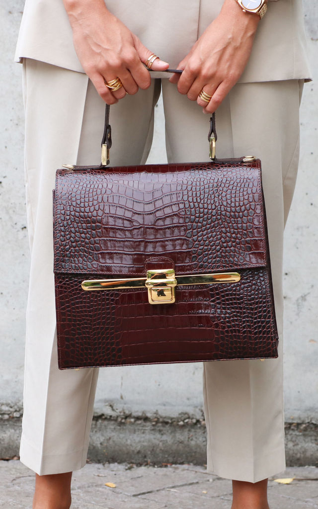 BROWN CROC PATENT CITY BAG by THE CODE HANDBAGS