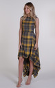 Grey and Yellow Tartan Asymmetric Dress by Blonde And Wise
