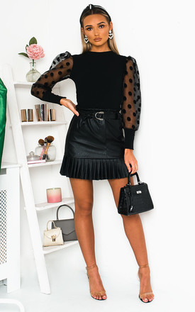 Cher Faux Leather Pleated Mini Skirt in Black by IKRUSH