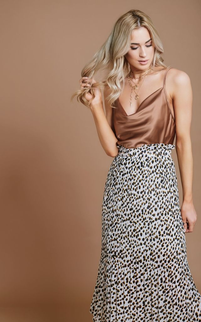 Pleated Midi Skirt in Cream Leopard Print by HAUS OF DECK