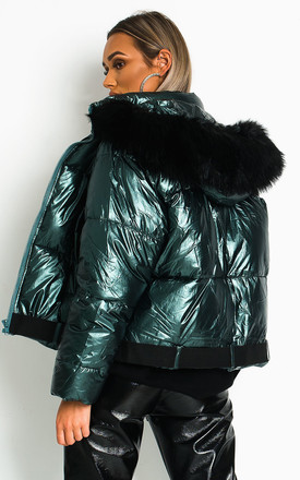 Mina Green Puffer Jacket With Faux Fur Hood by IKRUSH