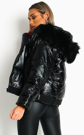 Mina Black Puffer Jacket With Faux Fur Hood by IKRUSH