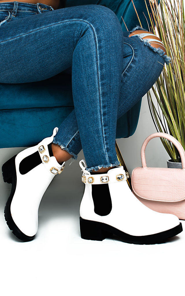 Royaltee Jewelled Chelsea Boots in White by IKRUSH