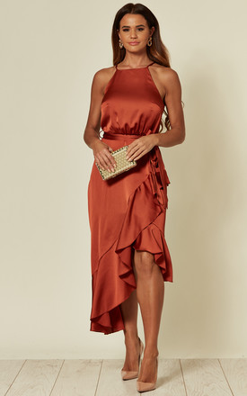 Exclusive Ariana Rust Satin Halter Frill Dress by Style Cheat Product photo