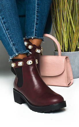 Royaltee Jewelled Chelsea Boots in Wine by IKRUSH