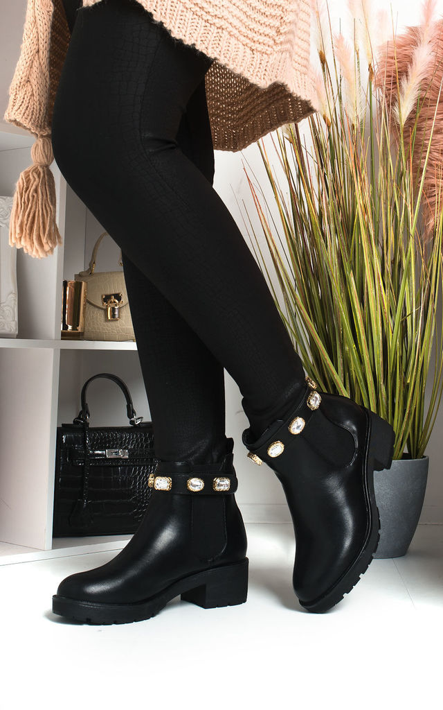 Royaltee Jewelled Chelsea Boots in Black by IKRUSH