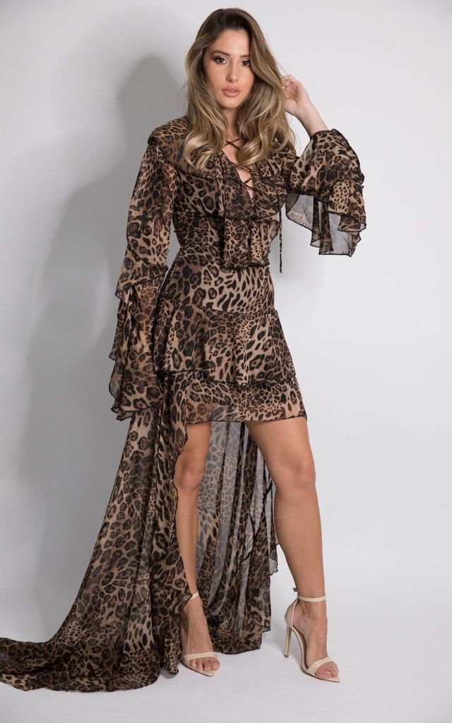DOLCIE Animal Print Dress With Train by House of Gigi