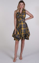 Grey and Yellow Tartan Trench Wrap Dress by Blonde And Wise