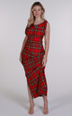 Bright Red Tartan Willow Maxi Dress by Blonde And Wise