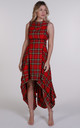 Bright Red Tartan Asymmetric Wendy Dress by Blonde And Wise