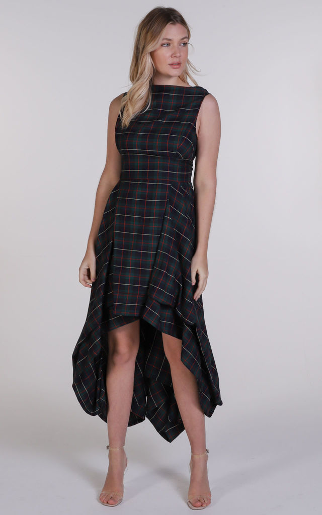 Navy and Red Tartan Asymmetric Wendy Dress by Blonde And Wise