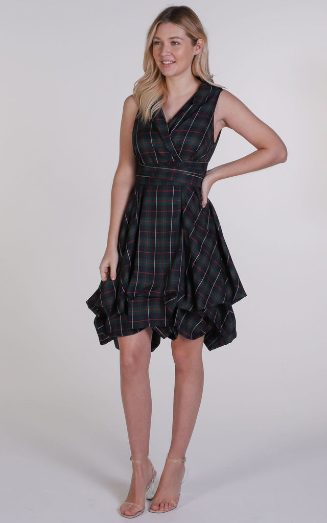 Navy and Red Tartan Trench Wrap Dress by Blonde And Wise