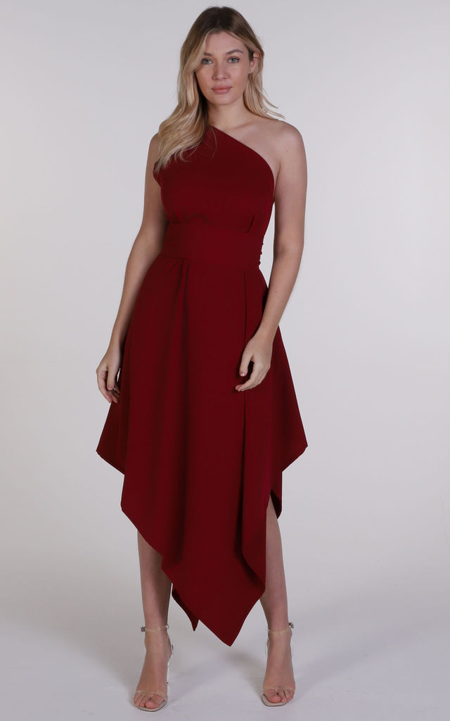 Deep Red One Shoulder Belle Dress by Blonde And Wise