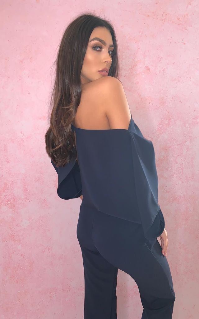 Esme Off Shoulder Jumpsuit Navy by Rag & Doll