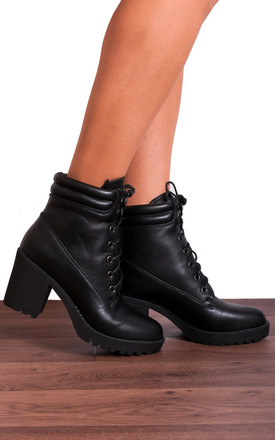 Black Faux Leather Platform Ankle Boots by Shoe Closet