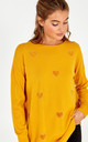 JOY MUSTARD HEART DIAMANTE JUMPER by Blue Vanilla