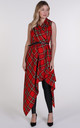 Bright Red Tartan Drape Waterfall Waistcoat by Blonde And Wise
