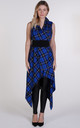 Royal Blue Tartan Drape Waterfall Waistcoat by Blonde And Wise