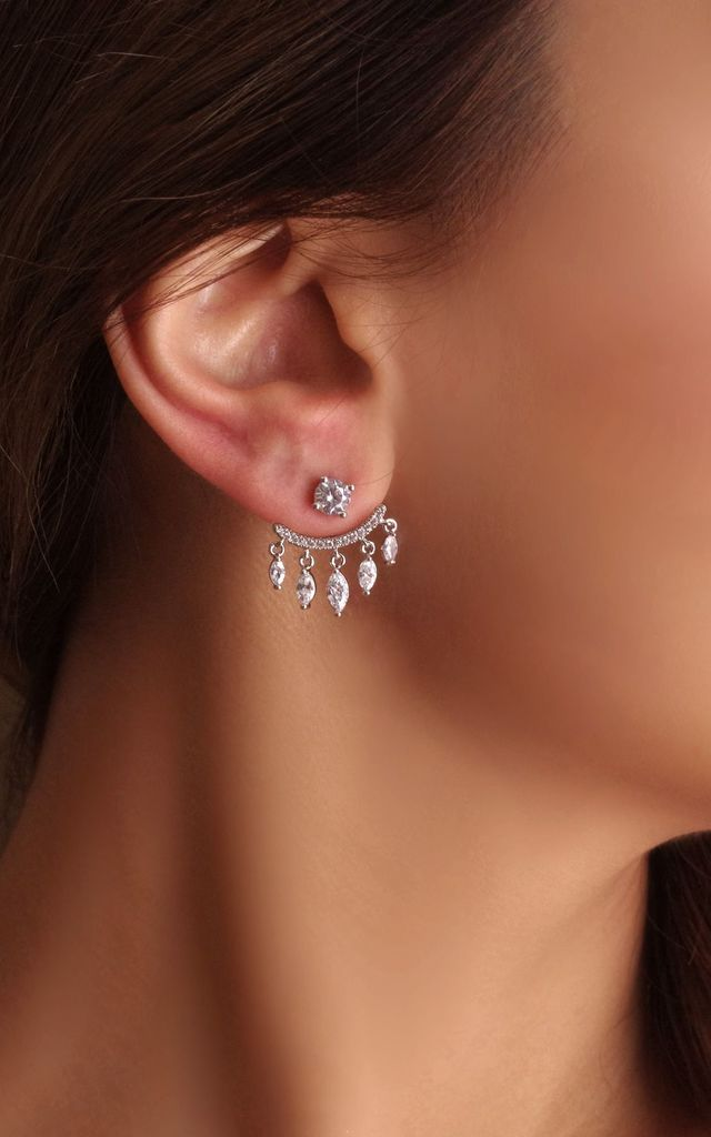 Silver Jacket Earrings by SATORI ACCESSORIES