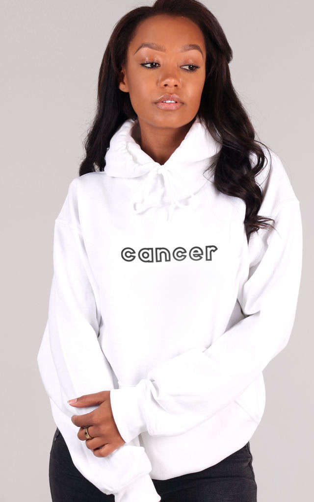 Oversized CANCER Starsign Hoodie in White by LimeBlonde
