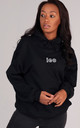 Oversized LEO Starsign Hoodie in Black by LimeBlonde