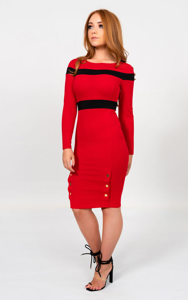 Long Sleeve Bodycon Midi Dress in Red by Miss Attire