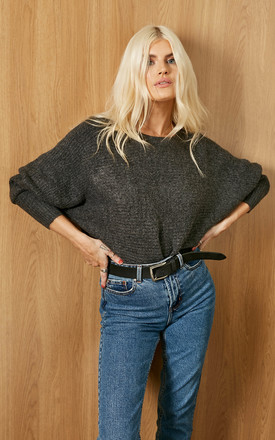 Batwing Knitted Jumper In Dark Grey by ONLY Product photo