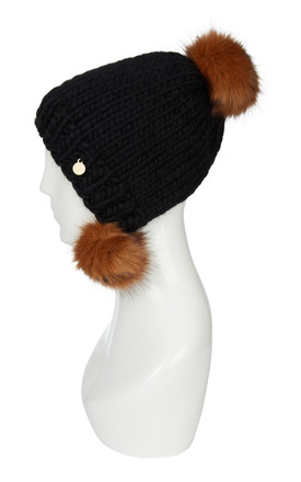 Woolen Hat With Pom Poms Black/Grizzly by Urbancode London