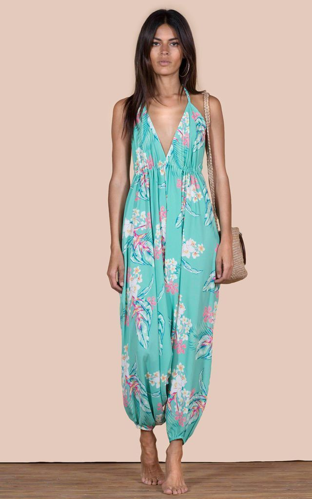 GENIE JUMPSUIT IN GREEN TROPICAL by Dancing Leopard