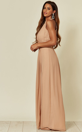 Halter Neck Maxi Dress with Leg Slit in Nude Blush by ANGELEYE