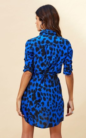 Mini Shirt Dress in Blue Leopard by Dancing Leopard