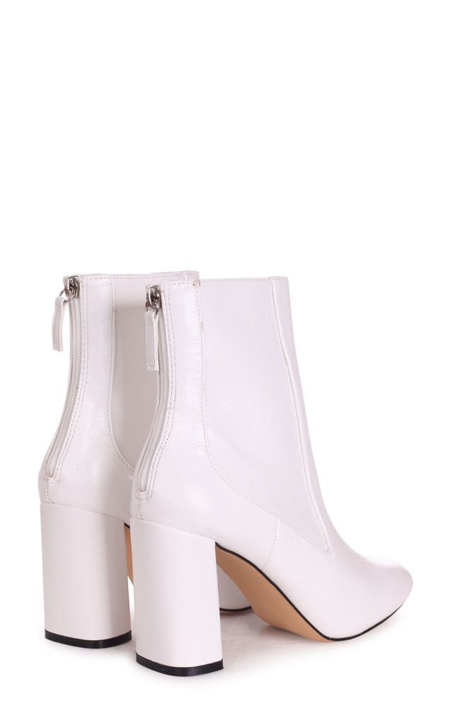 Only Love White Nappa Heeled Boot by Linzi