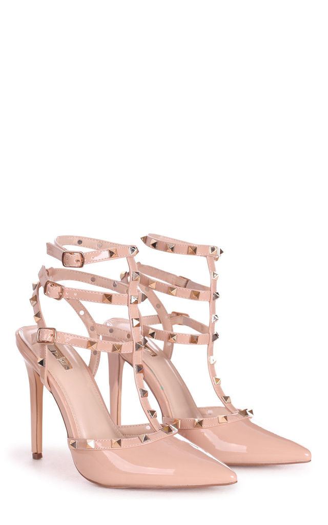 So Extra Nude Patent Gladiator Style Heel by Linzi