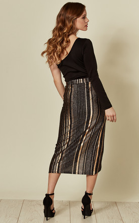 SCARLET TWIST MIDI SKIRT IN ROSE GOLD/BLACK by Blue Vanilla
