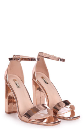 Tori Rose Gold Chrome Barely There Heels by Linzi