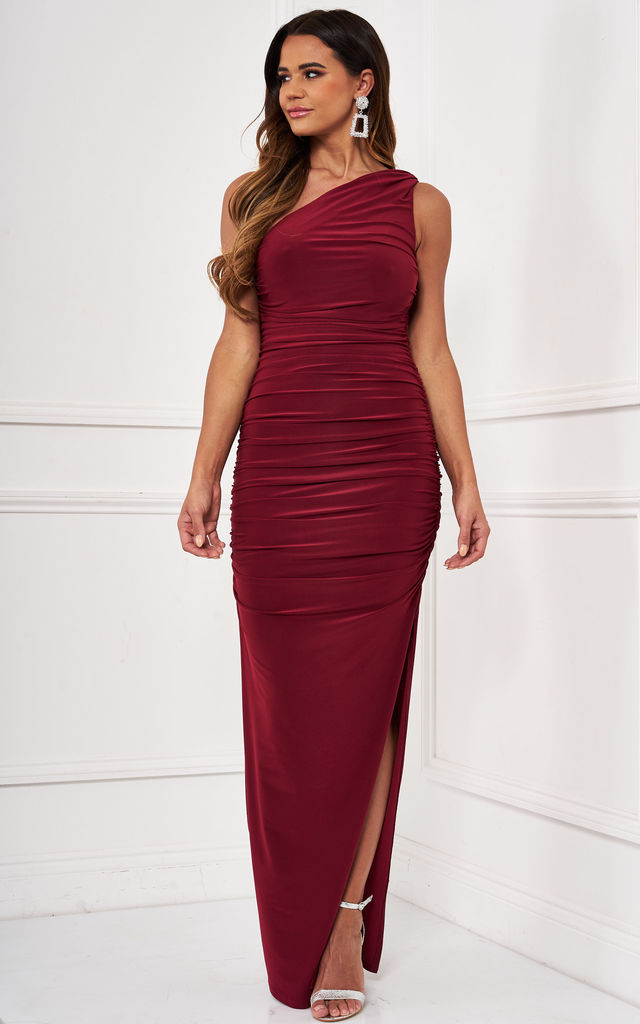 Angelina burgundy one shoulder bridesmaid dress by Revie London