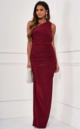 Angelina Burgundy One Shoulder Bridesmaid Dress by Revie London Product photo