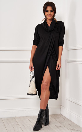 Black Roll Neck Drape Wrap Dress by Bella and Blue Product photo
