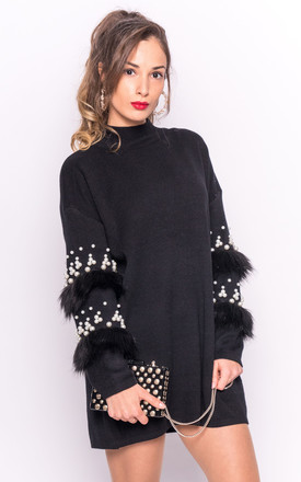 Jumper With Faux Fur And Pearl Embellished Sleeves In Black by CY Boutique Product photo