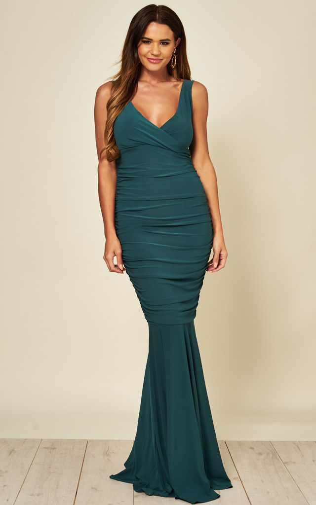 Gabby Maxi Bridesmaids Dress with Fishtail in Green by Honor Gold