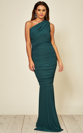Alice One Shoulder Maxi Fishtail Dress In Green by Honor Gold Product photo