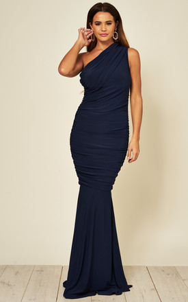 Alice One Shoulder Maxi Fishtail Dress In Navy by Honor Gold Product photo