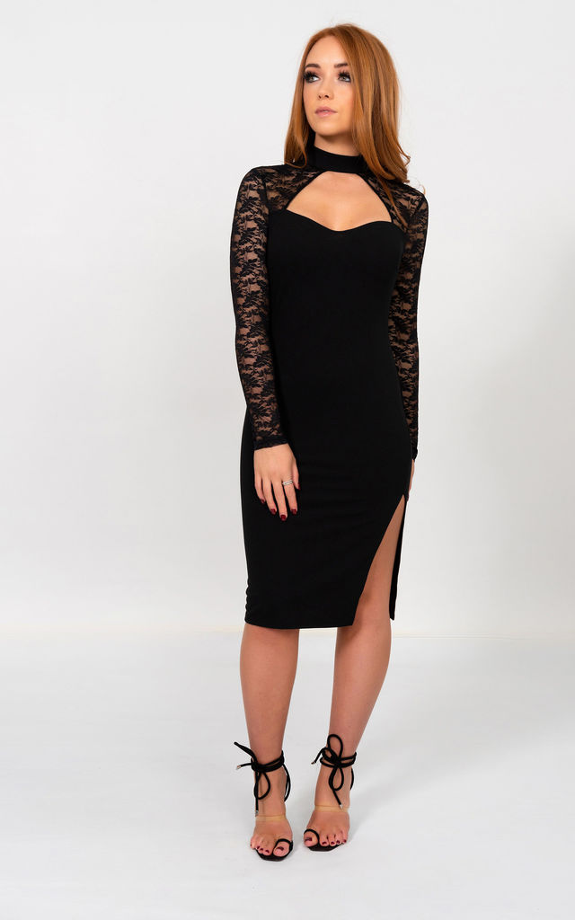 Darla Long Sleeve Lace Midi Dress in Black by Miss Attire