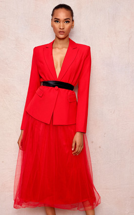 Red Two Piece Suit | Skirt & Jacket by April & Alex Product photo